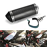 Universal 1.5-2'Slip de admisión en silenciador de Escape con DB Killer extraíble para Street Bike Scooter de Motocicleta - Color de Fibra de Carbono