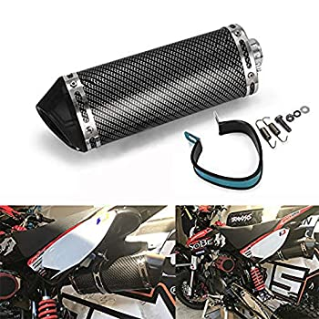 JFG RACING Slip on Exhaust 1.5  Inlet Stainelss steel Muffler With Moveable DB Killer For Dirt Bike Street Bike Scooter ATV Racing