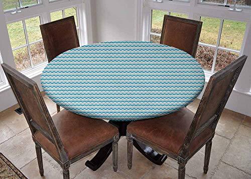 Ronde tafelkleed keuken decoratie, tafelblad met elastische randen, Retro Modern Zig Zag Strepen in Ikat Stijl Horizontale Lijnen Tribal Design Multi kleuren, Bedrukt tafelkleed