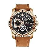 LIGE Montres Homme Chronographe Imperméable Quartz Analogique Montre Sport Bracelet Cuir Marron Bracelet Grand Cadran Montres