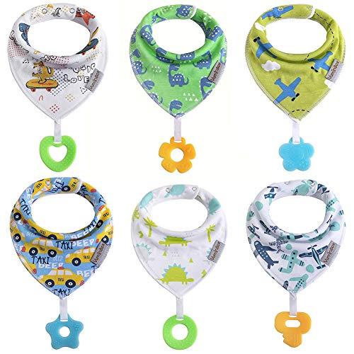 Baby Dreieckstuch Babylätzchen Bandana mit Beißspielzeug Einstellbar Spucktuch 100% Bio-Baumwolle, Super Saugfähig und Weiche, Halstücher Drool Lätzchen für Mädchen (6pack Junge)