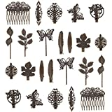 24 Pack Vintage Retro Boho Bronze Copper Metal Hair Clips Barrettes Butterfly Flower Leaf Feather Duckbill Alligator Hairpins Bobby Pins Comb Claws Wedding Bridal Decorative Accessories for Women