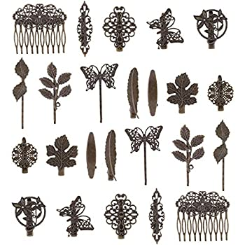 24 Pack Vintage Retro Boho Decorative Metal Hair Clips Barrettes Butterfly Flower Leaf Feather Duckbill Alligator Hairpins Bobby Pins Comb Wedding Bridal Accessories for Women