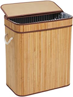 HanShoo Bamboo Laundry Hamper with Lid Bamboo Laundry Basket 75L Dirty Clothes Storage Baskets Foldable Rectangular (L)