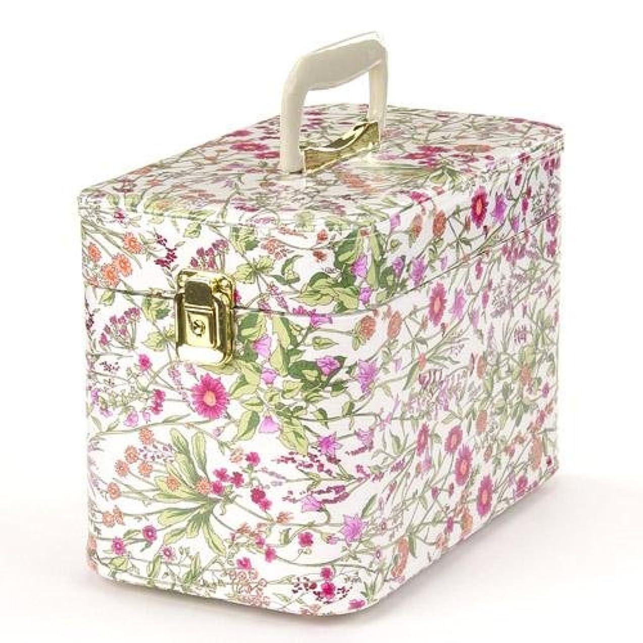 日本製 メイクボックス (コスメボックス)ハーブガーデン 30cm ピンク トレンケース(鍵付き/コスメボックス)