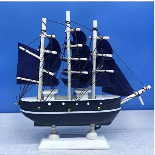 Blauwe scheepsmodel houten zeilboot 16 inch kinderspeelgoed cadeau maken figuren nautisch miniatuurboot
