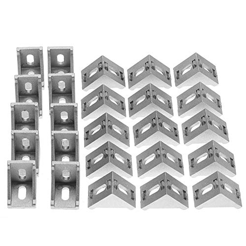 Akozon 25pcs 4040 Corner Bracket Right Angle L Shape Corner Bracket Brace Fastener 2 Hole Aluminum Brackets for Extrusion Profile