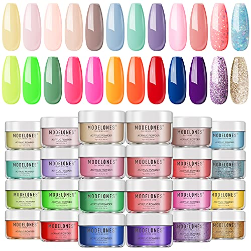 Modelones Acrylic Powder Set 24 Color Rainbow, Colored Acrylic Nail System Nail Powders Art for French Nails 3D Flowers Nail Extension Choice for Travel Daily, No Nail Lamp Needed