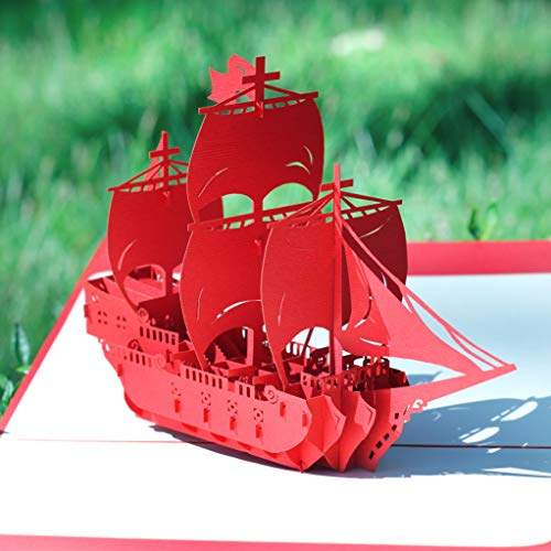 CUTEPOPUP 3D Pop Up Birthday Card | Pop Up Father's Day Card | Retirement Card Valentine's Day Card for Men The Perfect Handmade Gifts with Unique Red Boat Design for Daddy, Grandpa on All Occasions
