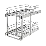 Rev-A-Shelf 5WB2-1222CR-1 12 x 22 Inch Two-Tier Kitchen Organization Cabinet Pull Out Storage Wire Basket, Chrome