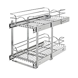 2-tier silver pull out cabinet organizer to install