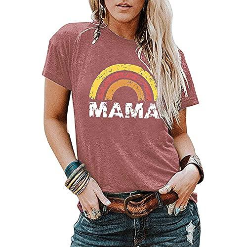 Mayntop Camiseta de manga corta para mujer, diseño de rayas, arco iris, ajuste holgado, para mujer