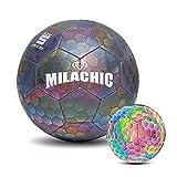 Horypt Pelota de fútbol holográfica Brillante Reflectante, Pelota de fútbol Que Brilla en la Oscuridad para Juegos nocturnos, Pelota de fútbol holográfica Luminosa para niños y niñas al Aire Libre