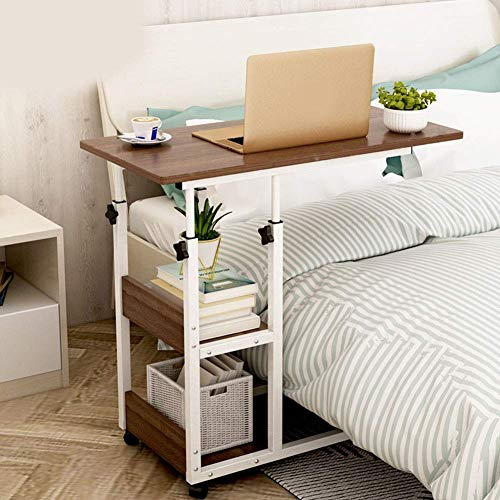 ZGYZ Over Bed Sofa Couch Rolling Wheels End Table Coffee Table, Laptop Bedside Table, Adjustable Overbed Lazy Computer Desk Dining, C Shaped Holder (B)