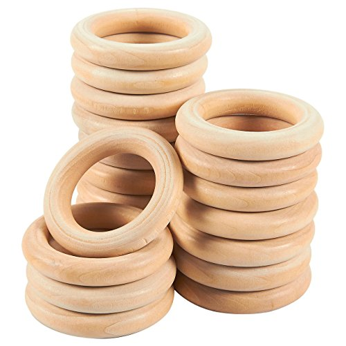 Anello in legno naturale–Confezione da 20Unfinished Wood anelli per anello ciondolo, fai da te, connettori e creazione di gioielli, naturale, 5,6cm di diametro