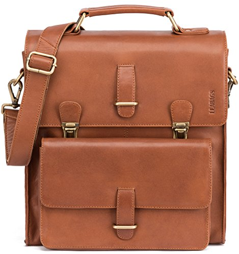 LEABAGS Lille Briefcase made of Genuine Leather in Vintage Look - Cognac