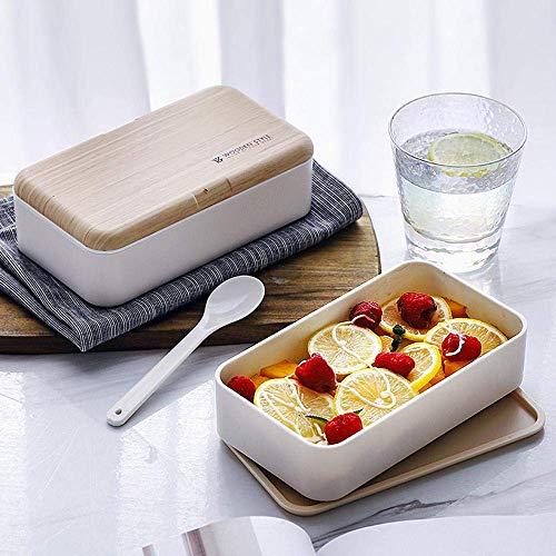 GYC Tragbare gesunde 2-lagige Mikrowellen-Brotdose Japanisches Holz Bento-Box Kinder Lebensmittelbehälter Lagerung Schule Picknick mit Essstäbchen Löffel CD