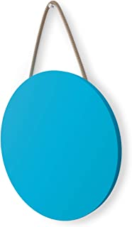 """Hanging Chalk Board - 10"""" Diameter Circle Small Chalkboard in Blue - Perfect Present Wooden Board to Brighten Up Any Room 