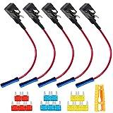 QitinDasen 5Pcs Premium 12V / 24V Pequeño Portafusibles, Coche Add-A-Circuit Fusible Tap Adaptador, con Extractor de Fusibles, 5Pcs Ataduras de Cables y 15Pcs Mini Fusibles de Cuchilla