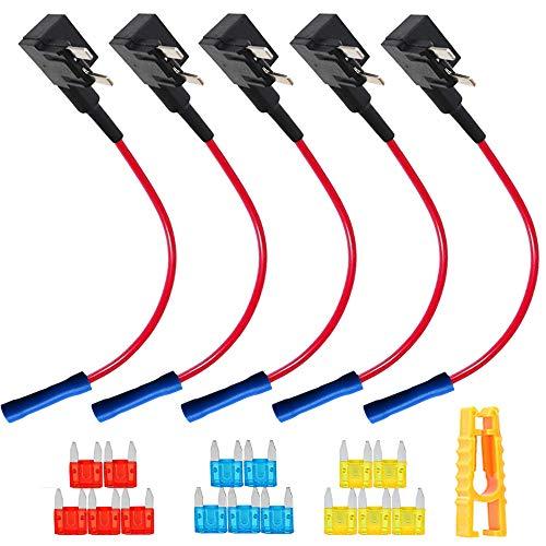 QitinDasen 5Pcs Premium 12V / 24V Pequeño Portafusibles, Coche Add-A-Circuit Fusible Tap...
