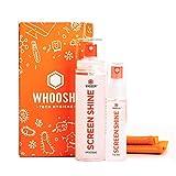 WHOOSH! Kit limpiador de pantalla – Mejor para – Smartphones, iPads, anteojos, lectores electrónicos, LED, LCD y televisores – Incluye 100 ml+ 30 ml botellas + 2 paños premium