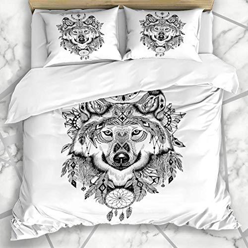 Bettbezug-Sets Detaillierte grafische Verzierung Wolfspelz Hund in aztekischen Stil Tiere Wei?er Kopf Zeichnung Wildlife Textures Weiche Mikrofaser Dekoratives Schlafzimmer mit 2 Kissen Shams