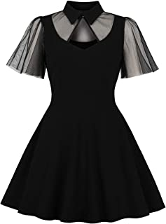 Women's Keyhole Mesh Bell Sleeve Knee Swing Cocktail Dress