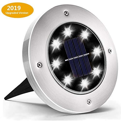 Yiwant Solar-Bodenlichter, Solar-Disketten-Lichter, 8 LEDs, wasserdicht, für den Außenbereich, im Erdbereich, Rasen, Hof, Terrasse, Gehweg, kaltweiß, metall, silber 1.20W 2.00V