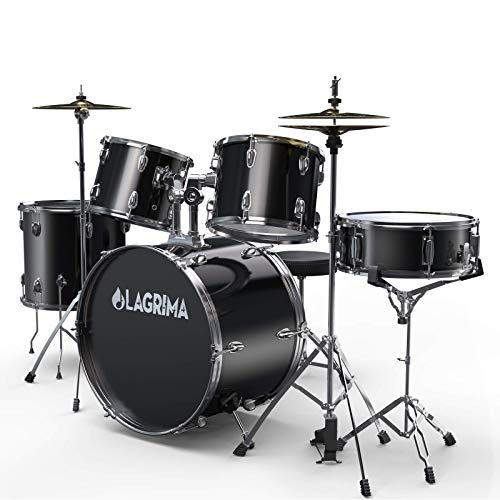 LAGRIMA 5 Piece Full Size Drum Set with Stand, Cymbals, Hi-Hat, Pedal, Adjustable Drum Stool and 2 Drum Sticks for Adult/Kids(Black, 22 Inches)