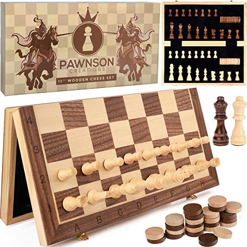 "Magnetic Wooden Chess Checkers Set for Kids and Adults – 15"" Staunton Chess Set - Travel Portable Folding Chess Board Game Sets - Storage for Wood Pieces - Unique E-Book for Beginner - 2 Extra Queens"