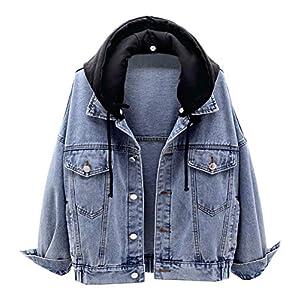 Women's Casual Detachable Hoodie Denim Jacket with Hood