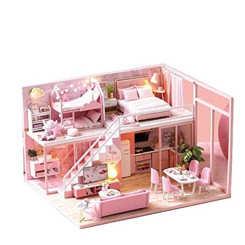 Miniatur-DIY Haus mit LED-Licht, zwei Etagen Kit Puppenhaus Kreative Holz Modell Miniatur-rosa Haus mit Musik-Bewegung, Doppelbett (Color : Without dust cover)