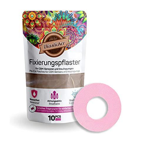 Diasticker® | Freestyle Libre/LibreProtect Fixierpflaster XL (10 Stück, Rosa) | Wasserfest - Atmungsaktiv - Starker Halt | Pflaster, Sensor Patch, Fixierung, Tape - Erhältlich in 4 Farben