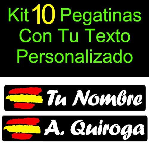 Vinilin - Kit 10 Pegatinas Vinilo Impreso Bandera España + Tu Nombre o Texto Personalizado. Resistentes Al Agua, Al Sol, y a los Arañazos - Laminado UV (Fondo Negro - Texto Blanco)