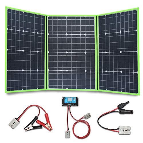 YUANFENGPOWER Panel solar plegable de 150w 12 V Cargador de batería solar 3 x 50w 18v módulo solar mono con controlador 20A para barco, automóvil, caravana, camping, batería de 12v