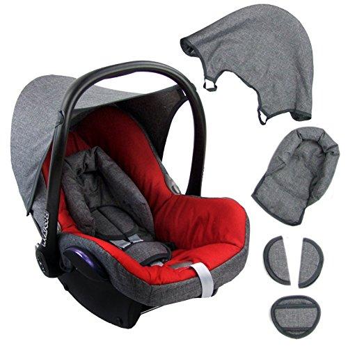 BAMBINIWELT Ersatzbezug für Maxi-Cosi CabrioFix 6-tlg. GRAU/ROT, Bezug für Babyschale, Komplett-Set XX