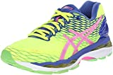 ASICS Women's Gel-Nimbus 18 Running Shoe, Flash Yellow/Pink Glow/Asics Blue, 6 M US