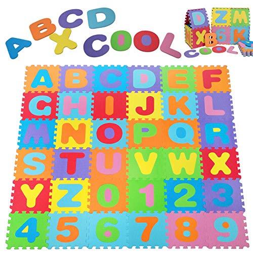 Alfombra Puzzle de 36 Piezas | 3,68m² | Alfombrilla de juego infantil | Gomaespuma EVA | Resistente a la humedad | Lavable | Colores resistentes Rompecabezas | 86 Piezas individuales |