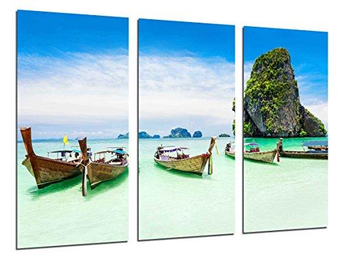 Cuadro Fotográfico Paisaje Caribe, Playa, Mar, Barcas, Paraiso Tropical Tamaño total: 97 x 62 cm XXL