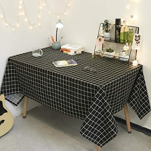 YOUYUANF tablecloth rectangular oval linen disposable washable cotton linen tablecloth, very suitable for self-decoration of kitchen table black square 90x90 cm