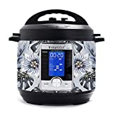 KRAFT'D Wrap for Instant Pot Accessories 6 quart Ultra 10 in 1 Cover Sticker | Wraps fit InstaPot Ultra 10 in 1 6 Quart ONLY | Tropical Flowers Paradise Blue Hue