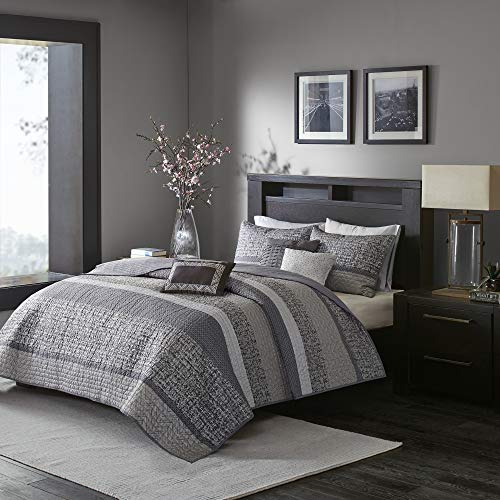 Madison Park Reversible Quilt Luxury Jacquard Design All Season, Breathable Coverlet Bedspread Bedding Set, Matching Shams, Decorative Pillow, King/Cal King(104'x94'), Rhapsody, Grey/Taupe, 6 Piece