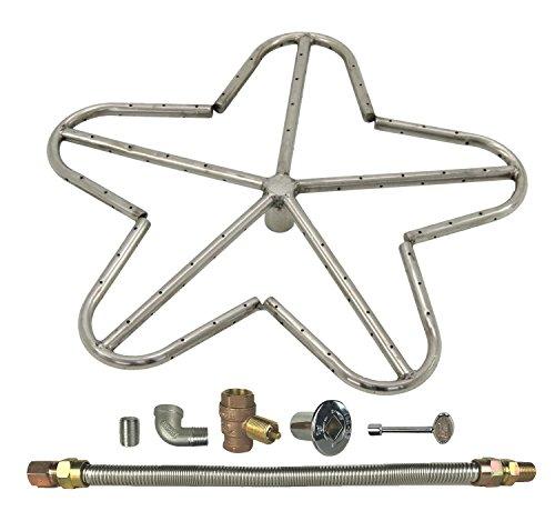 Spotix Penta Natural Gas Fire Pit Burner Kit, 18-Inch