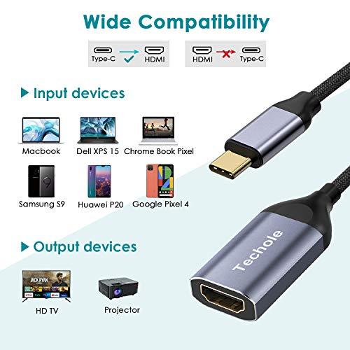 USB C HDMI Adapter, Techole 4K@60Hz Typ C auf HDMI Konverter Thunderbolt 3 kompatibel, aus Aluminium für MacBook Pro 2019/2018, MacBook Air, iPad Pro, Surface Book 2, Samsung Galaxy S10 / S9 usw.