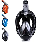 DCYSO Snorkel Mask - 2021 Large Air Inlet Full Face Snorkle Mask Scube Mask for Swimming and Diving (Black, M)