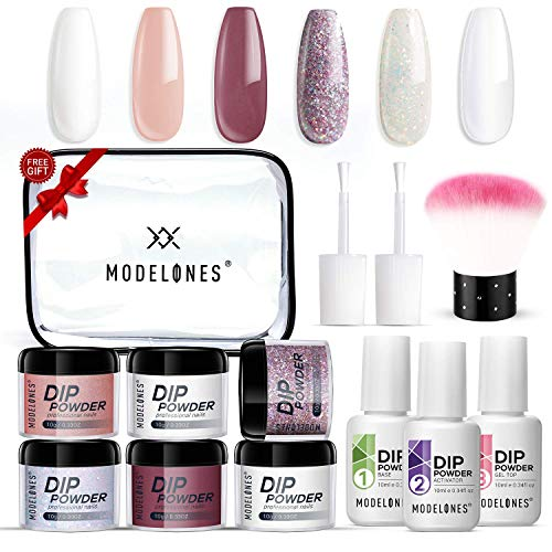 Dipping Powder Nail Kit with 6 Colors White Glitter,Dip Powder System Starter Nail Kit Acrylic Dipping System for French Nail Manicure nail art Set Essential kit,Portable Kit for Travel