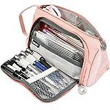 YOTINO Grande Estuche Rosa 3 compartimentos para niño Estuche de gran capacidad para guardar bolígrafos, bolígrafos, bolígrafos, maquillaje para niñas