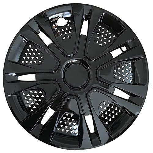 XJWWW Juego de cubiertas de rueda de acero engrosado, para llantas compatibles con cubiertas de rueda de 14/15 pulgadas, piezas de modificación de coche (JWOMO (negro) (tamaño: 15 pulgadas)