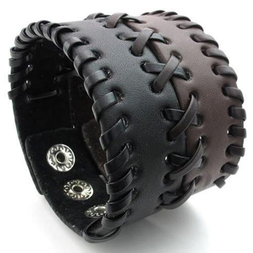 KONOV Herren Damen Leder Armband, Breit Armreif, Fit 16,5–19,1cm, braun schwarz