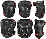 Set di 6 protezioni antiscivolo per ragazzi, con protezioni per polsi, ginocchiere e gomiti, per skateboard, scooter, ciclismo, S/M/L, Nero/rosso, L